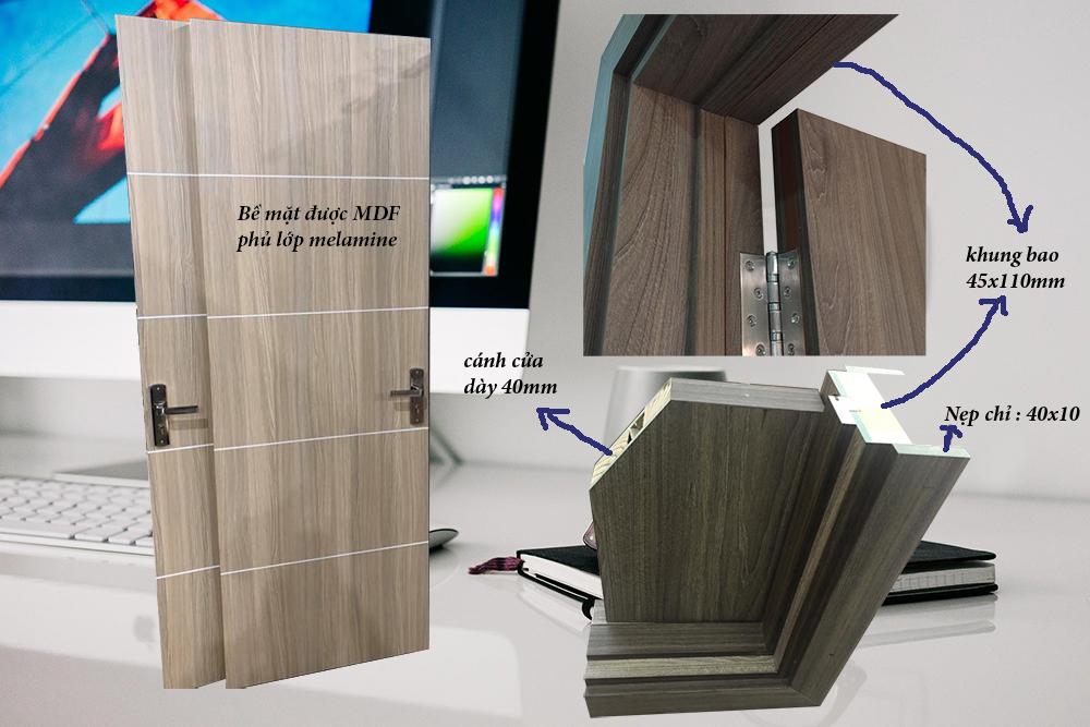 Cấu tạo và thông số kĩ thuật của cửa gỗ công nghiệp MDF Melamine.