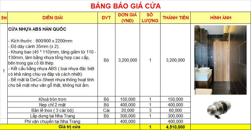 Bảng báo giá cửa nhựa ABS Hàn Quốc hoàn thiện.