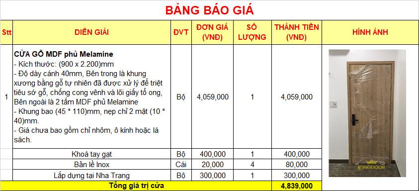 Bảng giá cửa gỗ công nghiệp MDF Melamine tại Nha Trang.