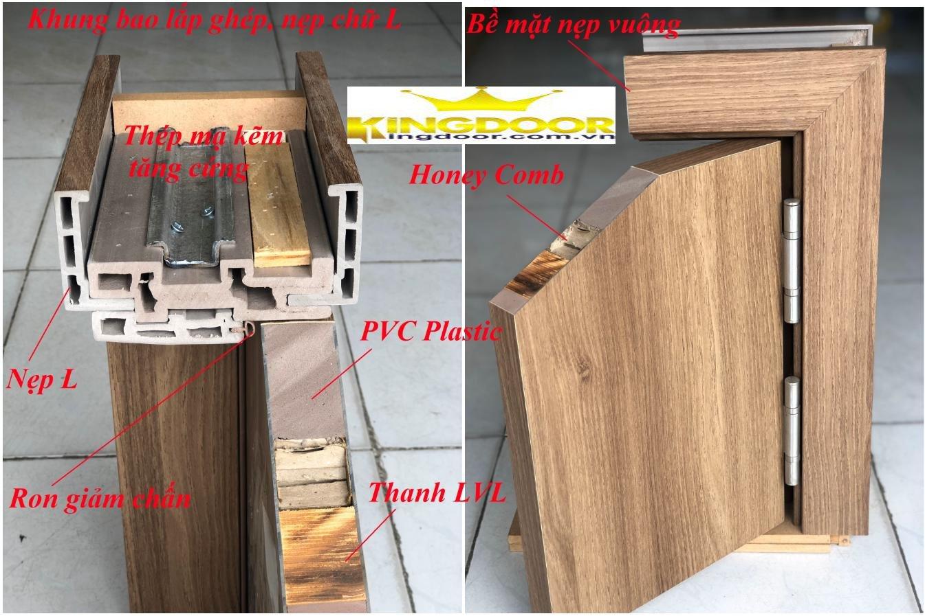 Mặt cắt thể hiện cấu tạo cửa nhựa ABS Hàn Quốc chính hãng.