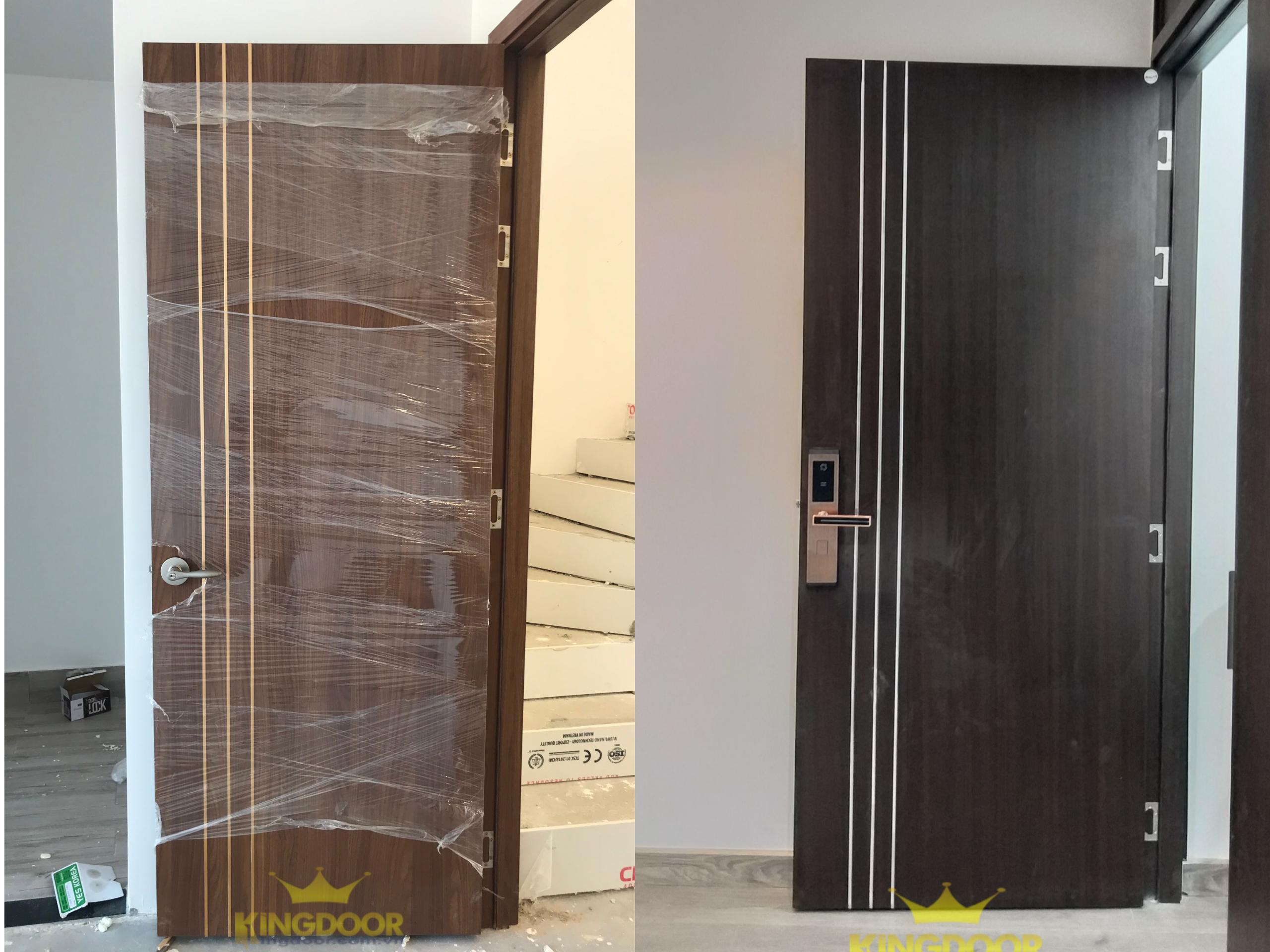 Mẫu cửa gỗ Công nghiệp MDF MELAMINE chạy chỉ nhôm trang trí - Cửa gỗ phòng ngủ đẹp.