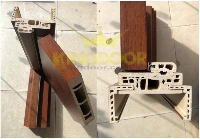 Một góc mặt cắt cửa nhựa giả gỗ Composite.